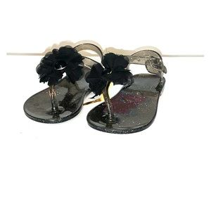 Other - Girls Floral Glitter Thong Flip Flops with Straps